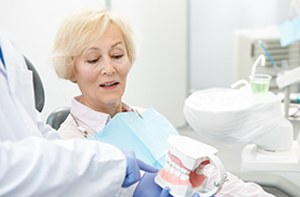 A dentist explaining the cost of dental implants in Carrollton to an older woman